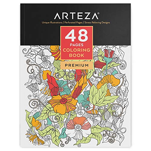 ARTEZA Adult Glue Bound Coloring Book, 48 Pages, Perfect for Stress Relief