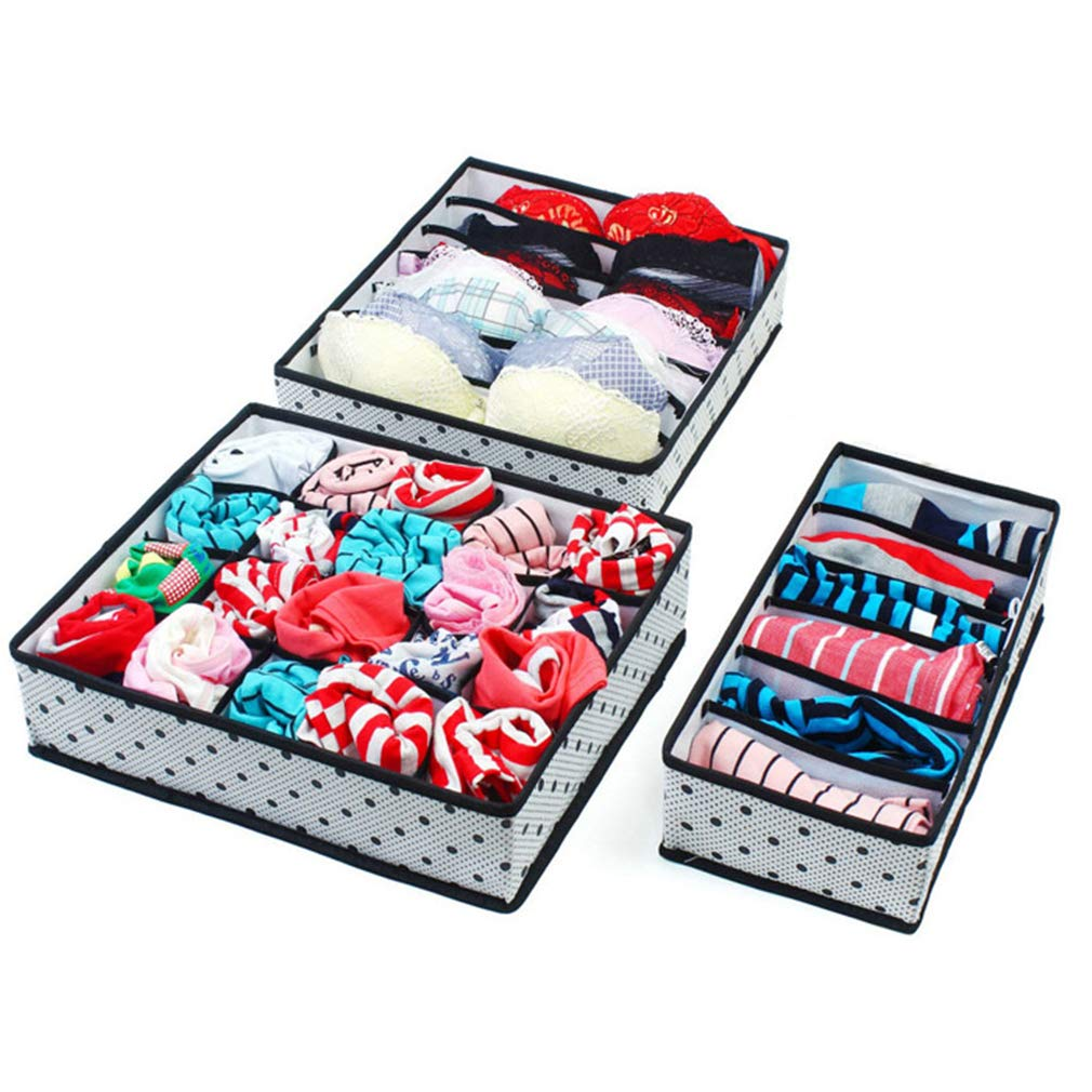 VADOLY 3PCS Non-Woven Foldable Storage Boxes Underwear Bra Closet Organizer for Socks Ties Lingerie