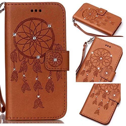 Funda Galaxy S6, Carcasa Plegable para Galaxy S6, Funda de piel Galaxy S6, Lifetrut Sólido Shiny Sparkle libro de estilo funda de cuero con ranura para tarjetas de cierre magnético soporte funda de te E214-Atrapasueños En marrón