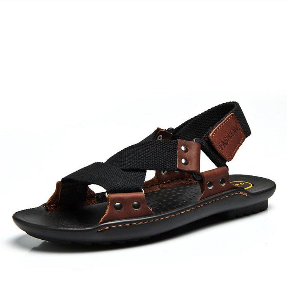 Herren Breathable Leder Klettverschluss Sport Walking Open Toe Sandaleen 4 Farben Optional UK Größe 6,7,8,9,10,11
