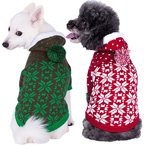Blueberry Pet Let It Snow Classic Ugly Christmas Holiday Snowflake Pullover Hoodie Dog Sweater in Red and White