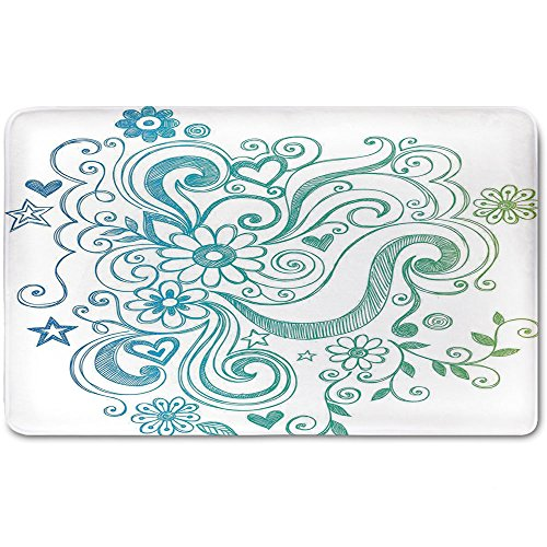 (Memory Foam Bath Mat,Flowers,Rainbow Colored Ombre Sketch Design with Florals Blossom Ivy LeavesPlush Wanderlust Bathroom Decor Mat Rug Carpet with Anti-Slip Backing,Blue White Turquoise Green)