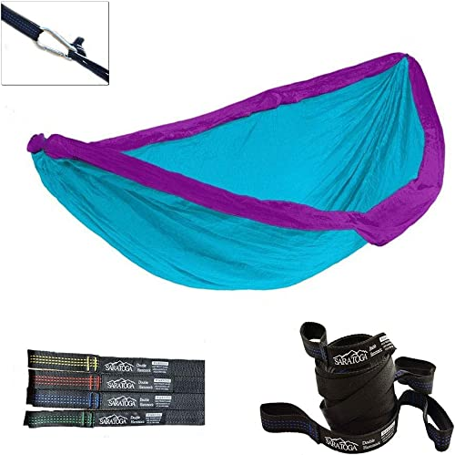 Double Lightweight Hammock with Tree Straps Parachute Nylon 2 Person Bed Backyard Portable Travel Survival Backpacking Indoor Outdoor Blue w Blue Strap