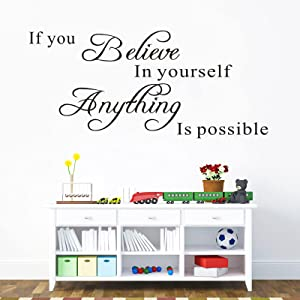 If You Believe in Yourself Anything is Possible Inspirational Wall Decal, AUHOKY Removable Motivational Art Decor Vinyl Sticker, DIY Art Lettering Quotes Mural for Bedroom Living Room Gym Decoration