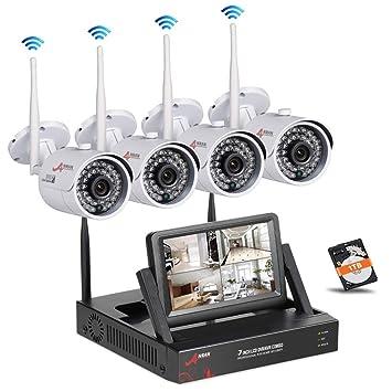 Kit sistema de seguridad inalambrica SWINWAY cámaras vigilancia WiFi NVR kit - 4CH NVR del 1TB
