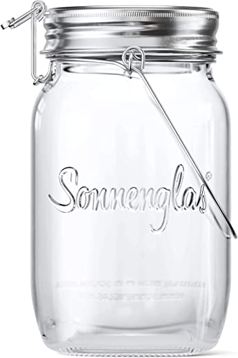 SONNENGLAS Classic 1000ml   Die Original Solarlampe/Solar-Laterne im Einmachglas aus Südafrika (inkl. USB Ladefunktion)   warmweiß   Fair Trade  …