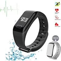 Fitness Tracker Fitness Watch Smart Bracelet with Heart Rate Moniter Blood Pressure Blood Oxygen Pdeometer Sleep Monitoring Calories Track for Daily Activity and Sleeping