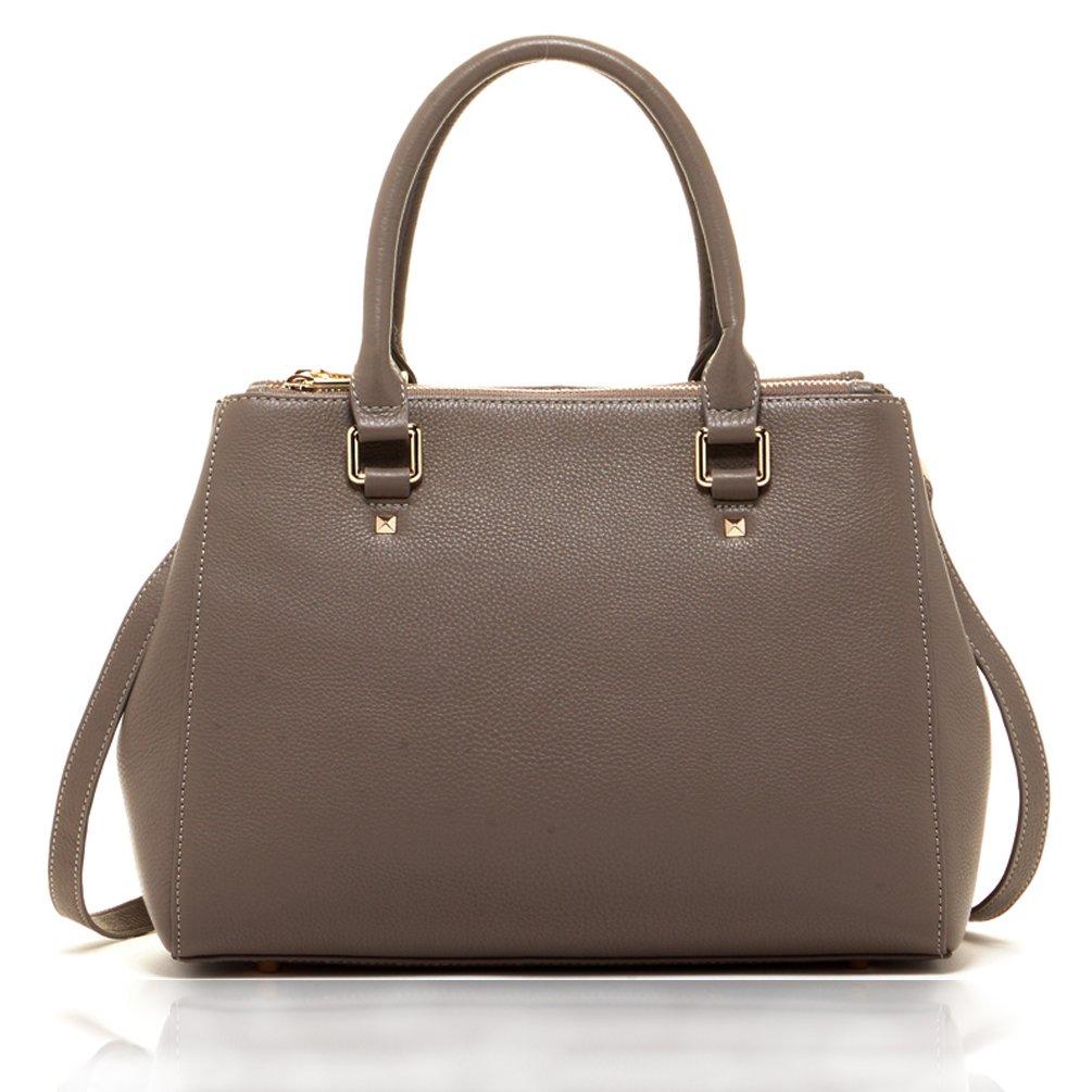 SUSU Leather Satchel Bag For Women Top Handle Designer Handbags Gray Tote Style Bag Genuine Leather Crossbody Shoulder Bags Cute Purses Grey Handmade Soft Leather Purse With Cross body Shoulder Strap