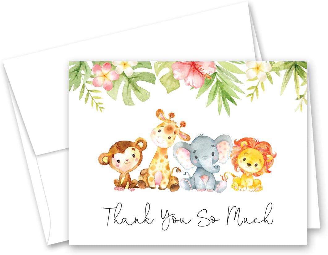 Jungle Animal thank you card safari thank you baby shower thank you Baby Shower thank you card thank you AS-42 thank you cards