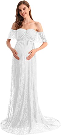 Hihcbf Women Bohemian Lace Maternity Wedding Dress Off Shoulder Ruffle Sleeves Photo Shoot Baby Shower Pregnancy Gown At Amazon Women S Clothing Store