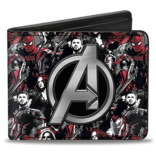 Buckle-Down Men's Avengers Icon/6-Infinity War Heroes Collage Grays/Black/Reds, Multicolor, Standard Size
