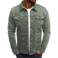 GoodLock Men's Fashion Casual Denim Jacket Autumn Winter Button Solid Vintage Tops Blouse Coat