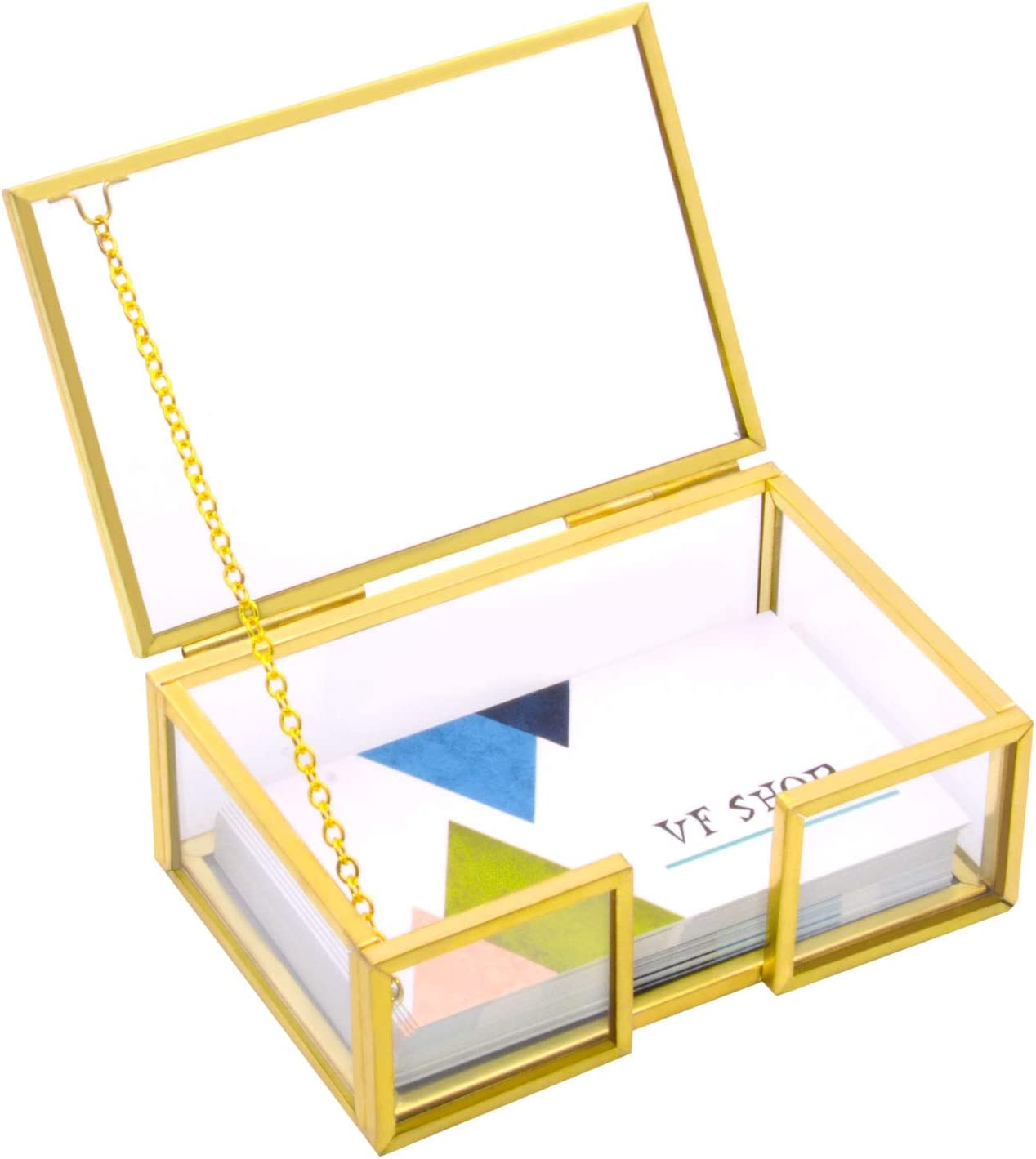 VoiceFly Glass Business Card Holder Box with Lid, Vintage Gold Metal Name Card Display Box Organizer Desktop Business Card Container Box for Office Exhibition Meeting Countertop