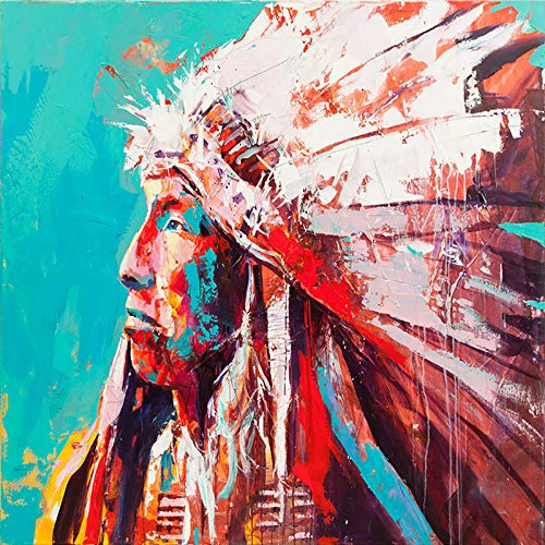- Faicai Art Nativ American Portrait Printings Pop Art Paintings Colorful Wall Art Canvas Prints and Posters Banksy Graffiti Pictures for Living Room Modern Home Wall Decor Wooden Framed 32