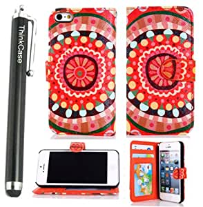 Thinkcase iPhone 5 5g Aztec tribal Design Premium PU Leather Wallet Case With Card Holder for iphone 5 5g I509#