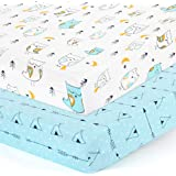 Stretchy-Crib-Sheets-Set-BROLEX 2 Pack Portable Crib Mattress Topper for Baby Boys Girls,Ultra Soft Jersey Knit,Arrow…