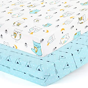 Momcozy Mattress Protector Jersey Knit Stretchy Portable Mini Crib Sheets for Baby Boys Girls Waterproof Pack n Play Fitted Sheets Set 2 Pack