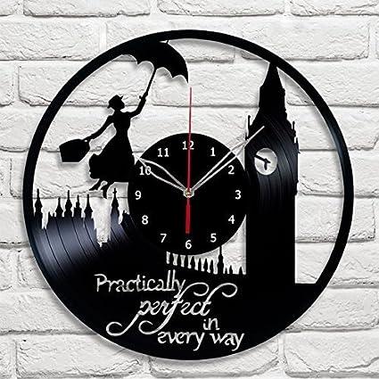 Amazon.com: forlovedgifts Mary Poppins diseño vinilo – Reloj ...