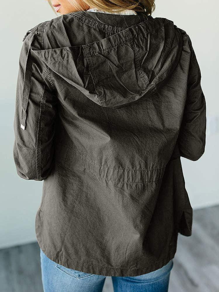 Ashuai Womens Militray Anorak Parka Jackets Lightweight Hoodie Zip Up Windbreaker Field Jacket Outwear Pockets