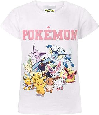 Pokemon Pikachu & Eevee Evolutions Camiseta de Manga Corta para niña en Blanco: Amazon.es: Ropa y accesorios