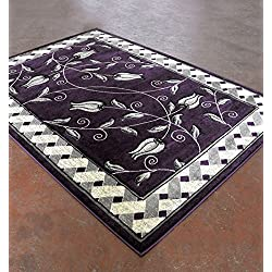 "Home Must Haves Super Soft Floral 3-Dimentional Modern Contemporary Polyester Area Living Room Bedroom Floor Hand Carved Rug Carpet (5'3"" x7'2, Purple)"