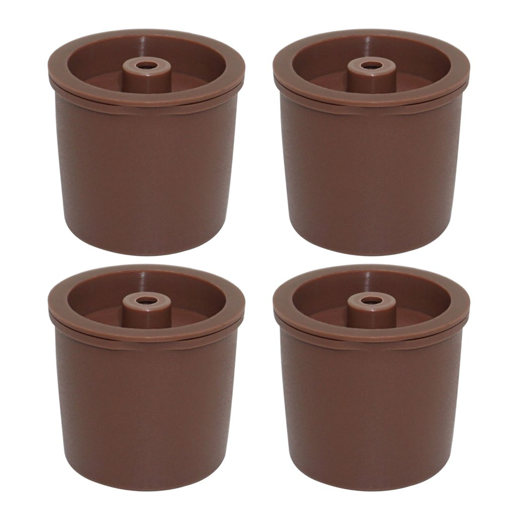 Homyl 4Pieces Plastic and Stainless Steel Filters Refillable Coffee Capsules Pod Cup Basket For Illy Coffee Making Machine - Brown, 38x36mm