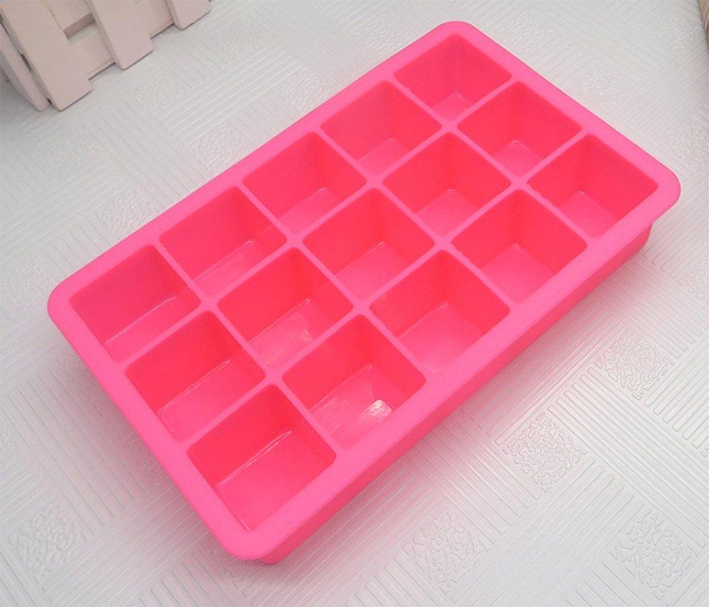 18,6* 11,8cm , Silikon, blau, 18.6*11.8CM 6* 11 8cm lumanuby Silikon Eiswürfel Formen Farbwannen 15Rasterfeld Silica Gel Ice Lattice quadratisch Form DIY Eis Form