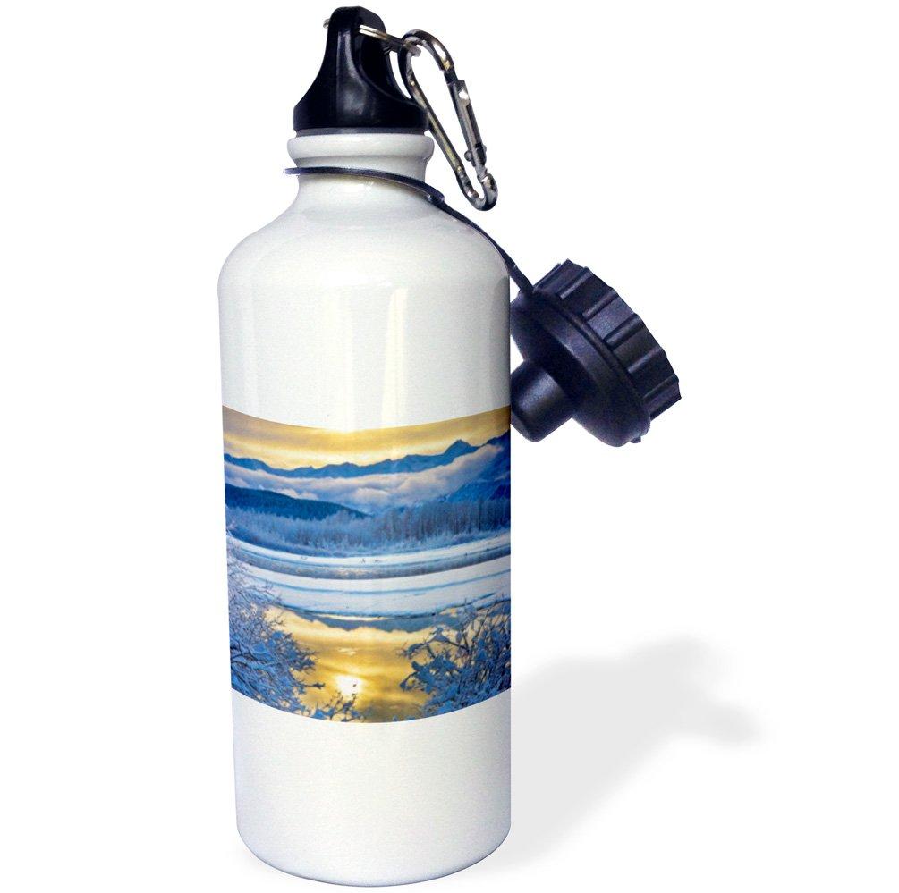Winter US02 BJY0004 Jaynes Gallery Sports Water Bottle 3dRose wb/_141741/_1USA Chilkat Bald Eagle Preserve Alaska 21 oz White