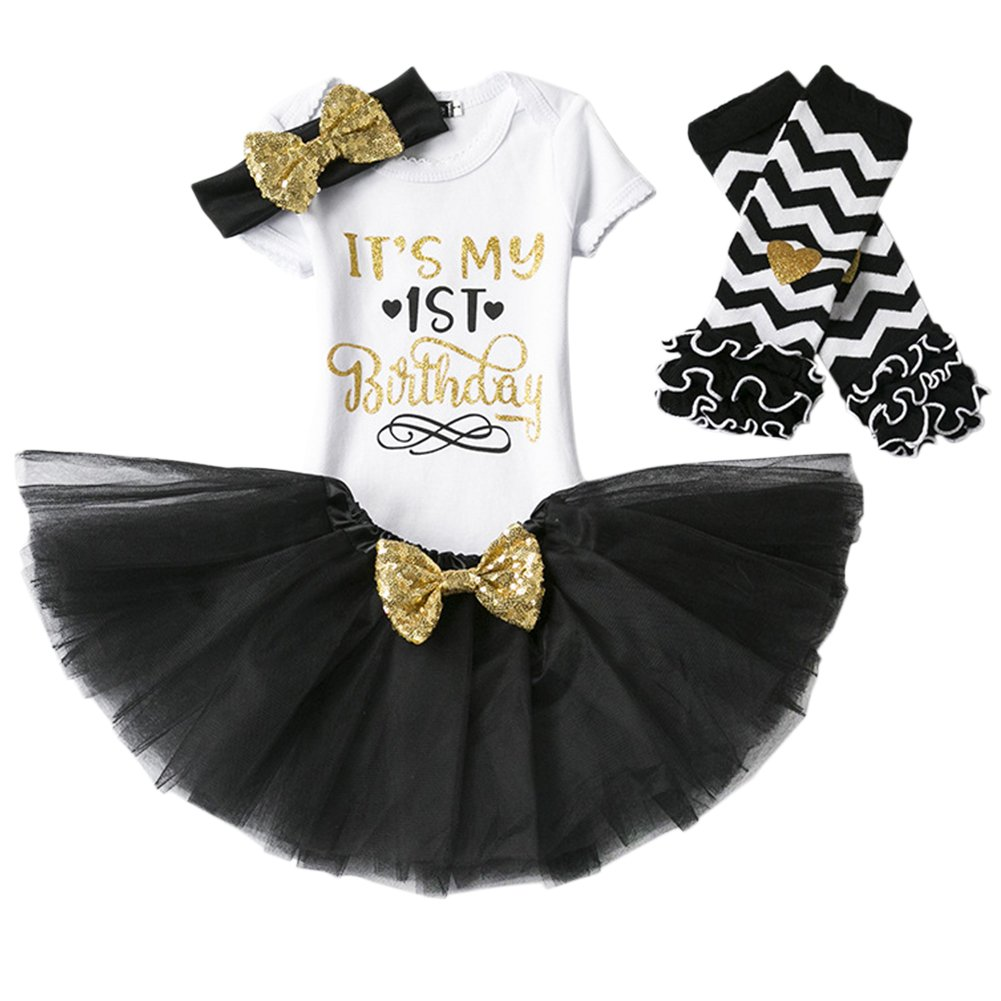 Baby Girl Its My 1st//2nd Birthday Cake Smash 3//4Pcs Shinny Sequin Bow Romper+Tutu Skirt+Headband+Leg Warmer Outfit