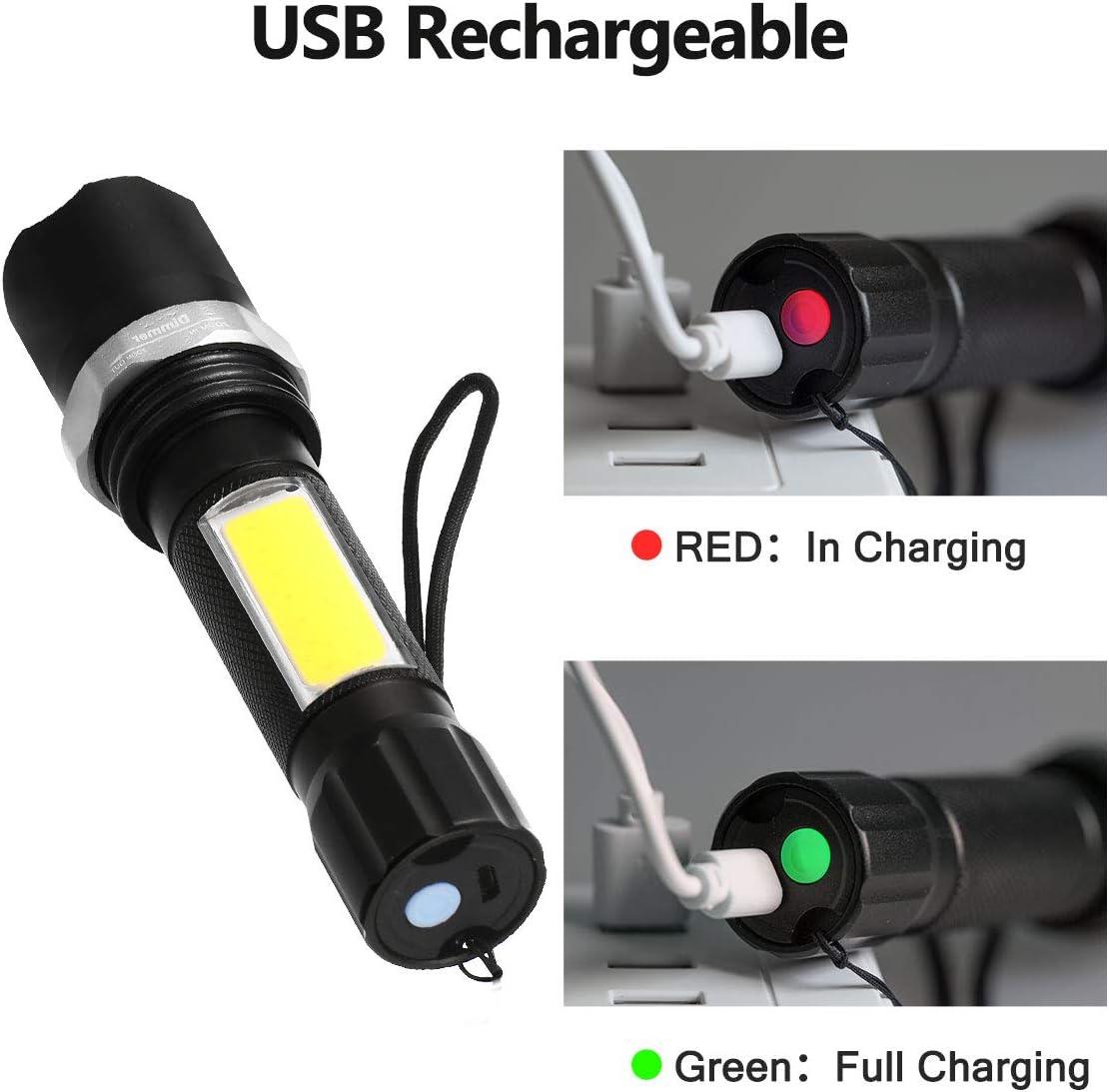 con cable USB senderismo zoom para exterior camping 1 unidad 600 l/úmenes Fulighture Linterna LED recargable por USB IPX5 linterna con 4 modos y larga duraci/ón de trabajo resistente al agua