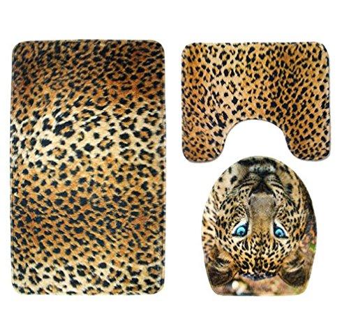 Vibola Tiger Leopard Pedestal Rug + Lid Toilet Cover + Bath Mat for Bathroom (B) (Bathroom Leopard Rug)