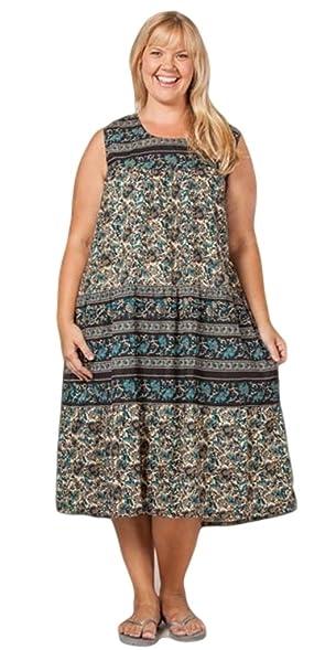 La Cera Womens Plus Size Sleeveless Long Cotton Dress At Amazon