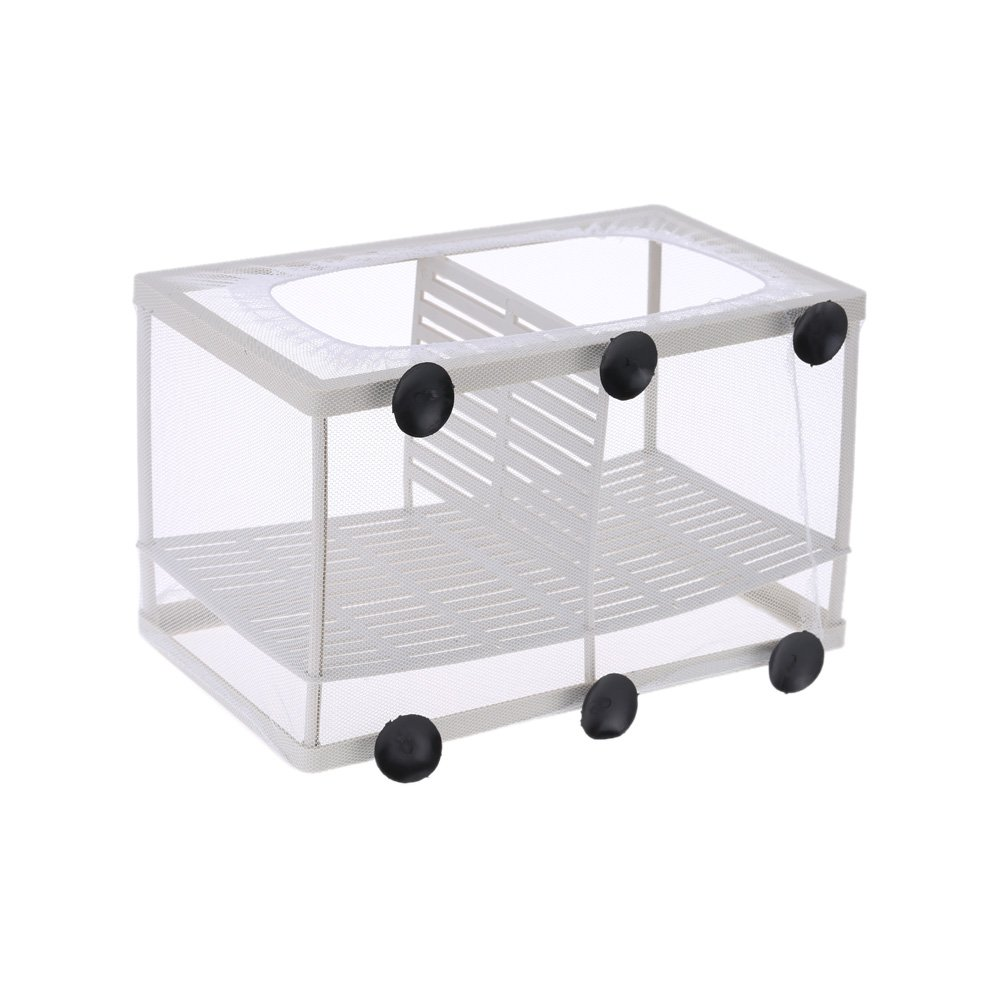 Fish Breeding Box Net Tank Aquarium Hatchery Fry Trap Float Breeder Isolation newborn Baby Nursery incubator House Suction Cup   White, M