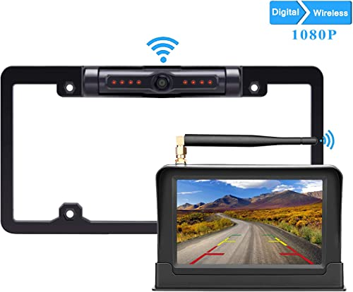 LeeKooLuu HD 1080P Digital Wireless Backup Camera 5 Display High-Speed Observation System for Cars,RVs,Pickups,Trucks,Campers IP69 Waterproof License Plate Camera Front Rear View Night Vision Clear