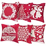 Unomor Christmas Pillow Covers for Sofa Bedroom Home Décor - Set of 6 (18'' X 18'') (Cotton Linen Embroidery Christmas Pillow Covers)