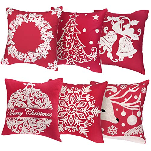 Price comparison product image Unomor Christmas Pillow Covers for Sofa Bedroom Home Décor - Set of 6 (18'' X 18'') (Cotton Linen Embroidery Christmas Pillow Covers)
