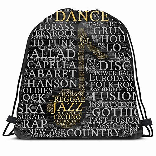 Ahawoso Drawstring Backpack String Bag Country Music Dance Word Cloud Musical Notes Gray Age Acapella Acid Alternrock Ballad Bluegrass Sport Gym Sack Hiking Yoga Travel Beach