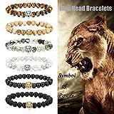 LOLIAS 6 Pcs Mens Lion Bracelet Natural Stone Bead Healing Link Bracelet Adjustable T