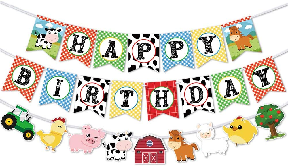 WERNNSAI Farm Animals Birthday Banner - Happy Birthday Banner with Tractor Barnyard Bunting Garland for Kids Boys Girls Farm Theme Party Decorations Supplies