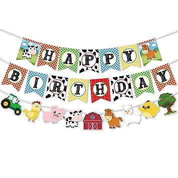 WERNNSAI Pancartas de Cumpleaños de Animales de Granja - Happy Birthday Banderas con Guirnalda de Empavesado de Corral de Tractor para Niños Niñas ...