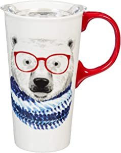 Cypress Home Beautiful Polar Bear in Knitted Scarf Ceramic Travel Cup with Tritan Lid and Matching Box - 4 x 5 x 7 Inches Indoor/Outdoor home goods For Kitchens, Parties and Homes