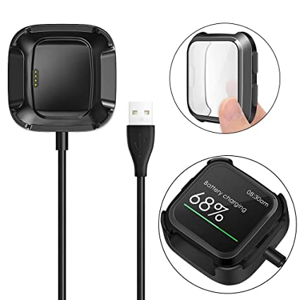 KIMILAR Screen Protector Case Charger Compatible Fitbit Versa Smartwatch, TPU Plated Full Coverage Bumper Replacement case Unique Charger Dock ...