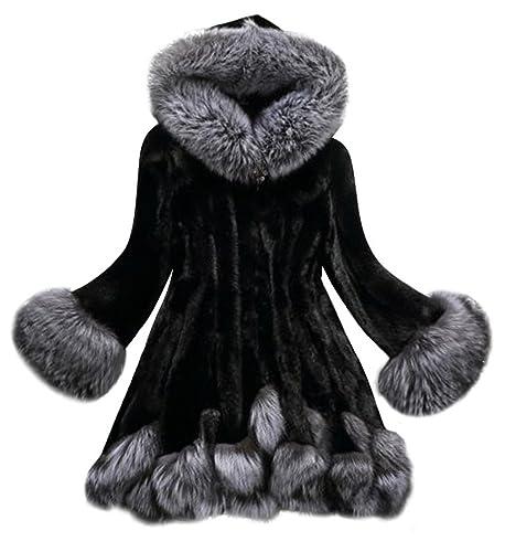 Abrigos Mujer,Culater Mujeres Parka Outwear abrigo de piel de Pelaje (Artificial) (XXXXL, Negro)