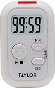 Taylor Precision Products 5879 Multi-Alert (Sound, Light, Vibration) Digital Timer, Standard, White