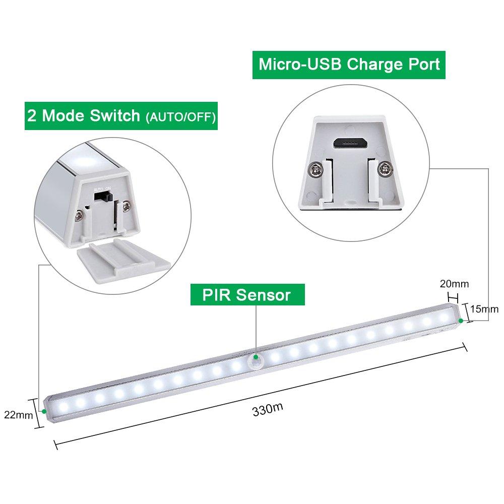 LOFTER Lámpara LED del Armario, 20 LEDs Recargable Inalámbrica con Sensor de Movimiento Batería Incorporada para Armario,Cocina,Mostrador,Cajón, ...