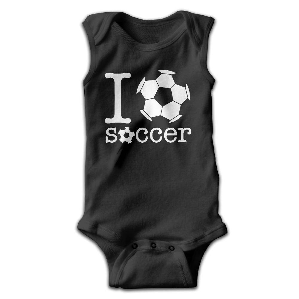 I Love Soccer Baby Newborn Crawling Suit Sleeveless Romper Bodysuit Onesies Jumpsuit Black