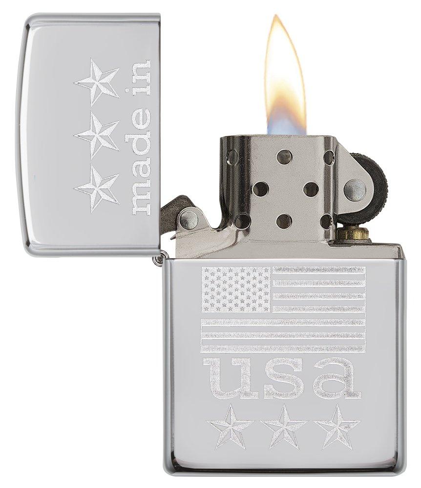 Zippo Made in USA with Flag Pocket Lighter, High Polish Chrome by Zippo (Image #3)