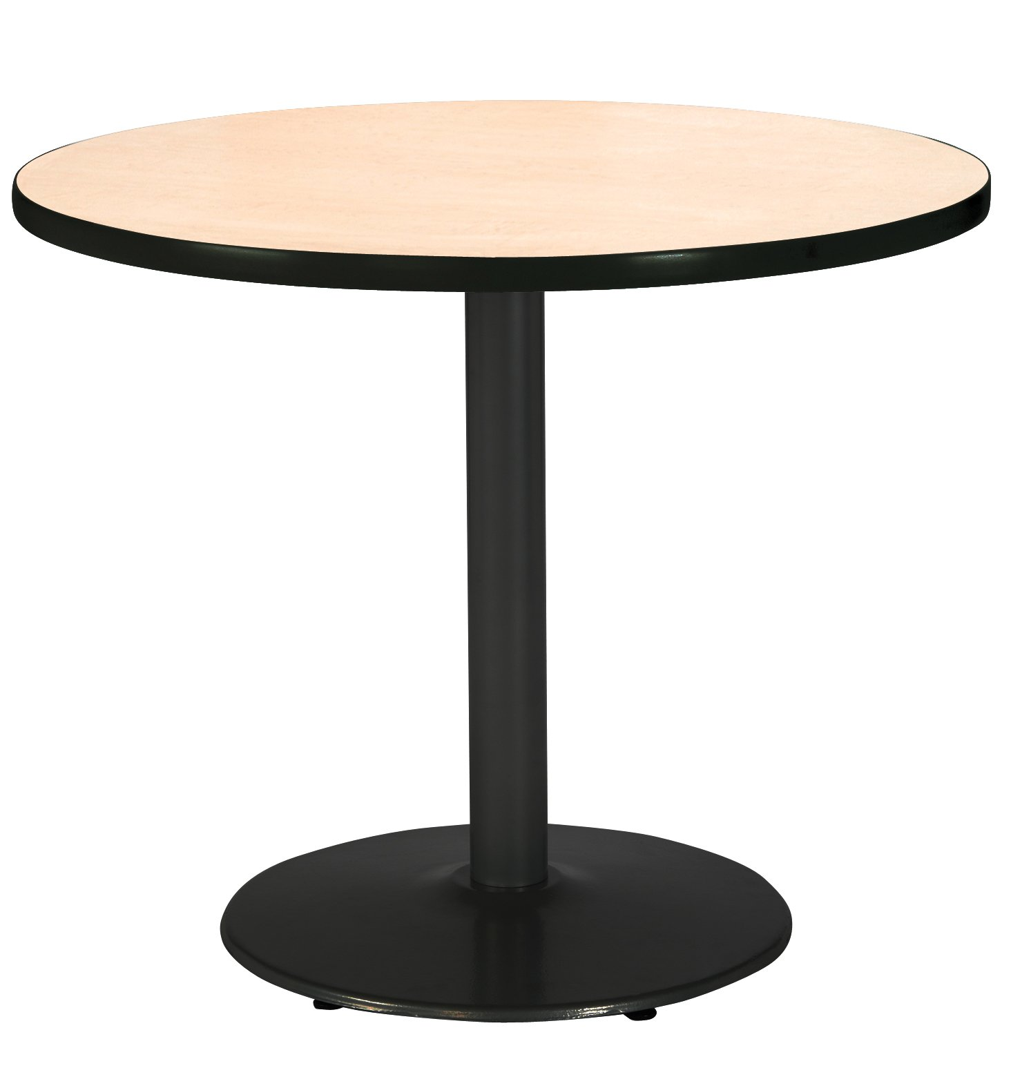 KFI Seating Round Black Base Pedestal Table with Top, Natural, 36'' by KFI Seating