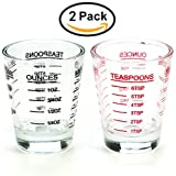 Small Measure Multi-Purpose Liquid and Dry Measuring Shot Glass, Heavy Glass, 26-Incremental Measurements,Wine Measuring,Measures 1oz, 6 Tsp, 2 Tbs, 30ml (2pcs)