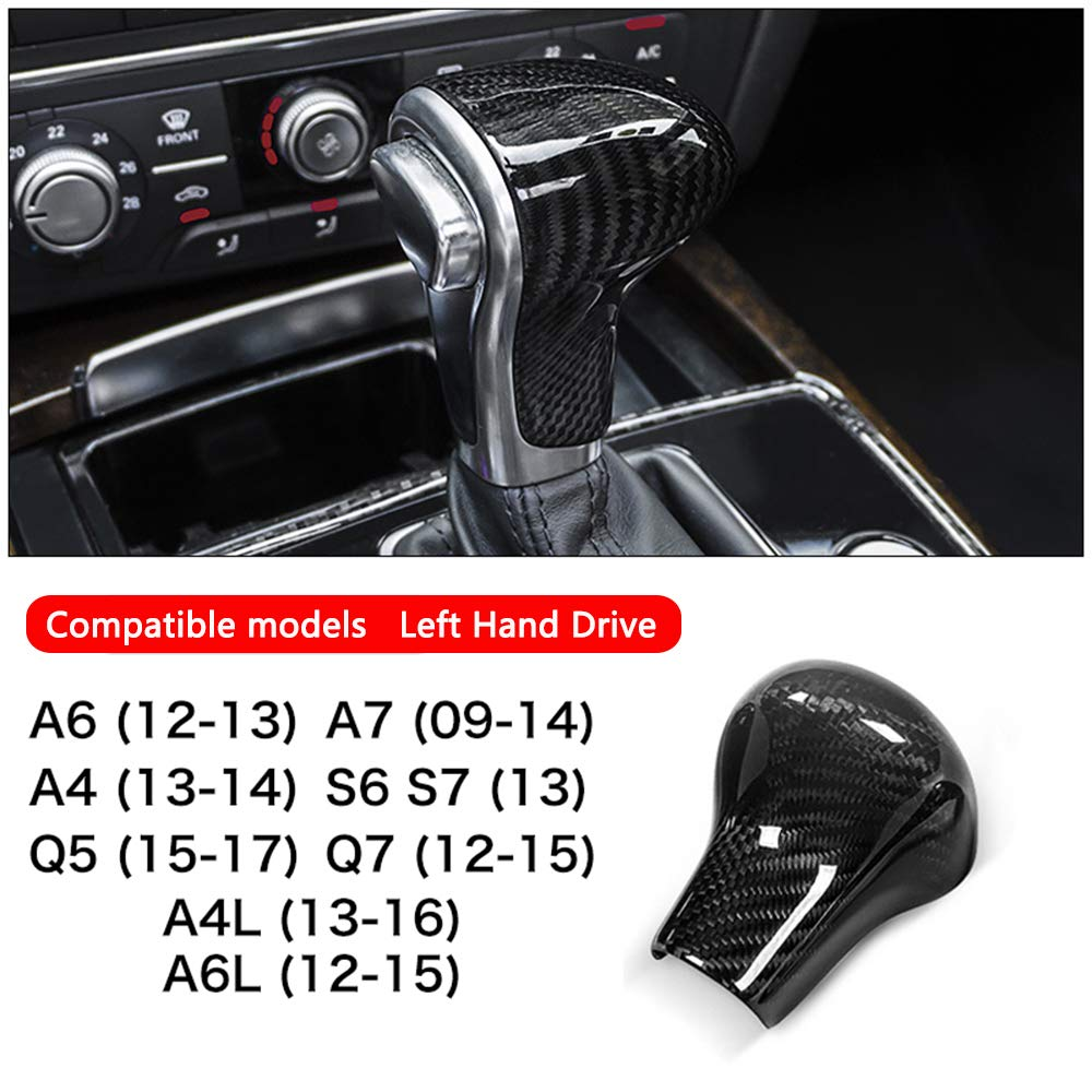 AIRSPEED Real Carbon Fiber Car Gear Shift Lever Knob Cover Sticker for Audi A5 A7 S6 S7 Q5 Q7 A4L A6L Accessories